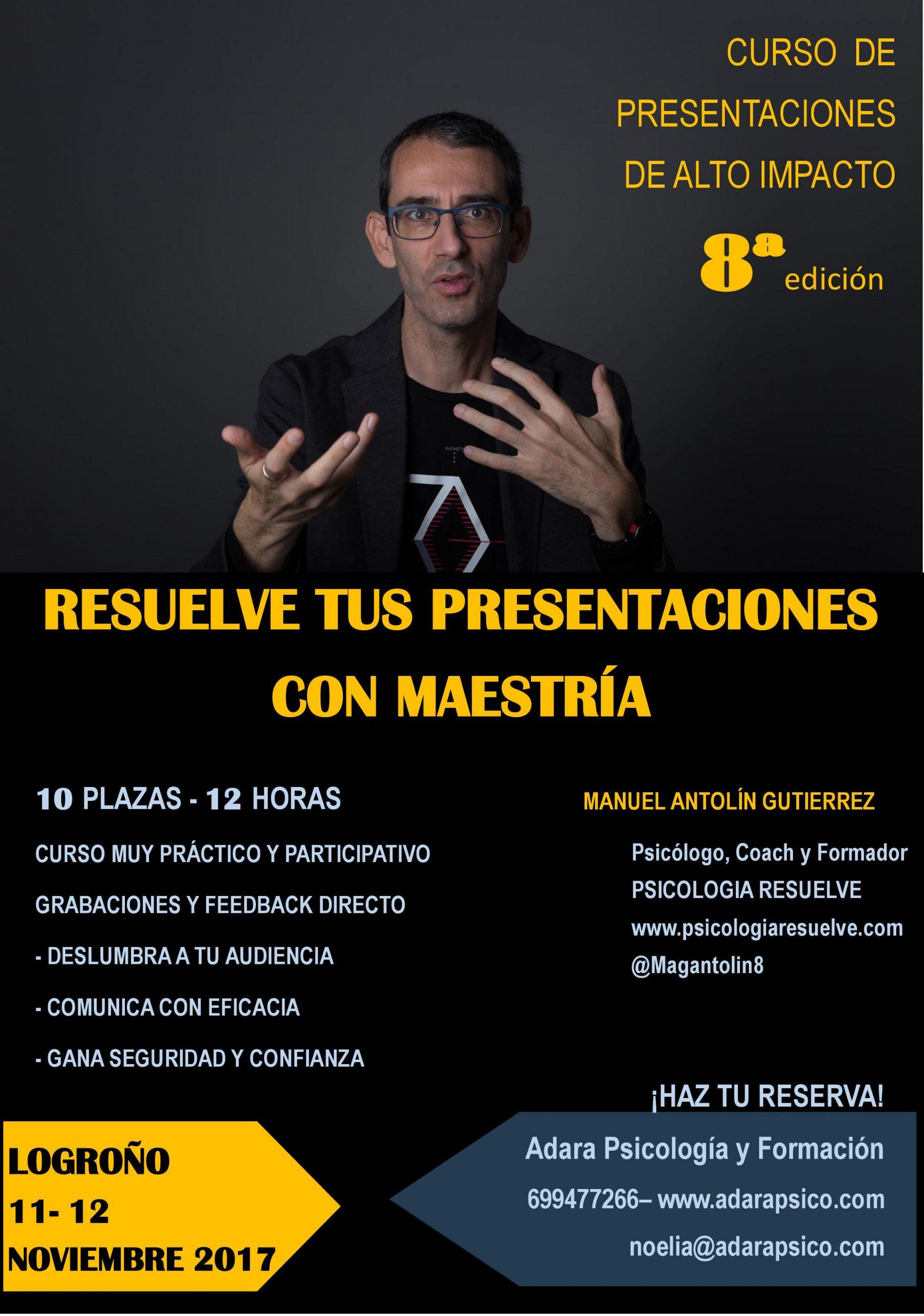 CURSOS RESUELVE PRESENTACIONES EFICACES – LOGROÑO (10-12 NOV17)